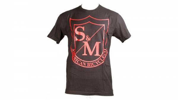 S&M T-SHIRT BIG SHIELD RED PRINT on BLACK