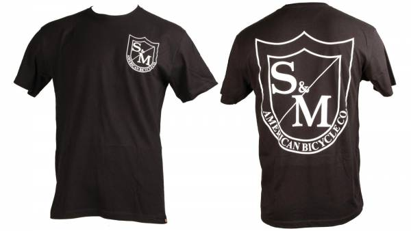 S&M T-SHIRT 2SHIELD SMALL RED PRINT on Black