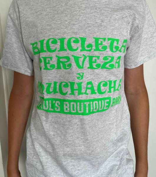 """PAUL'S BOUTIQUE ADULT SHIRT """"BICICLETA"""" M, L or XL Ash light grey"""