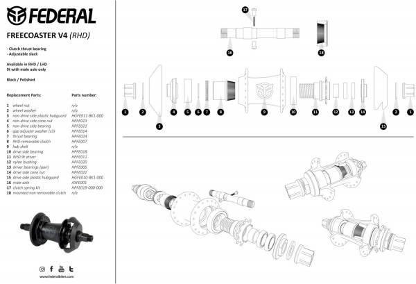 FEDERAL HUB FREECOASTER V4 MALE RHD 9T Black