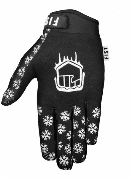 FIST GLOVES FROSTY FINGERS SNOWFLAKE WINTER GLOVES Black